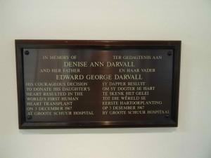 Plaque in memory of donor